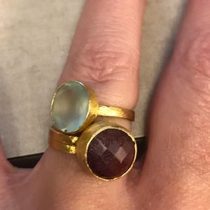 Jewelry - Ruby and chalcedony gold vermeil rings